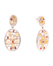 Sterling Silver Citrine And Carnelian Earrings