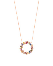 Rose Gold Plated Sterling Silver Baguette Cz Necklace