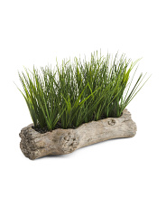 Faux Grass In Log Planter