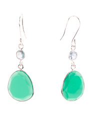 Made In India Sterling Silver Blue Topaz Green Onyx Earrings