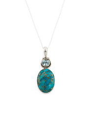 Made In India Sterling Silver Blue Topaz Turquosie Necklace