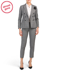Petite 2pc Peak Lapel Double Breasted Pantsuit