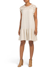 Made In Italy Linen Blend Lace Yoke Dress