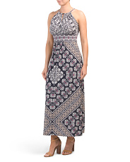 Petite Keyhole Printed Maxi Dress
