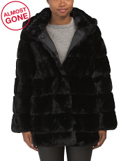 Sculpted Faux Fur Coat With Hood