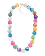 Multicolor Agate Rondelle And Cz Necklace