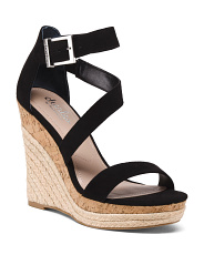 Espadrille And Cork Wedge Sandals