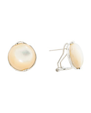 Sterling Silver Mother Of Pearl Omega Back Earrings