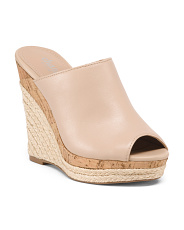 Espadrille And Cork Wedge Slide Sandals