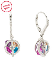 Sterling Silver Caged Rainbow Cz Earrings