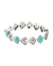 Sterling Silver Free Form Turquoise Bangle Bracelet