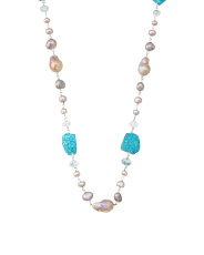 Sterling Silver Turquoise Quartz And Pearl Necklace