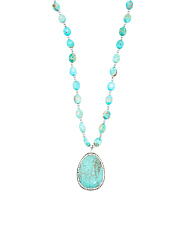 Sterling Silver Turquoise Jasper And Crystal Necklace