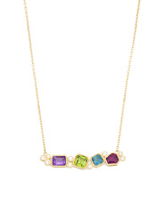 14k Gold Multi Gemstone And Diamond Bar Necklace