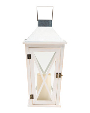 Indoor Outdoor Led Lantern With Galvanized Top