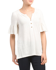 Elbow Sleeve Split Neck Hi-lo Top