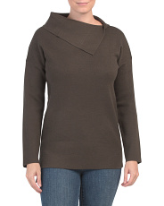 Double Knit Asymmetrical Neck Sweater