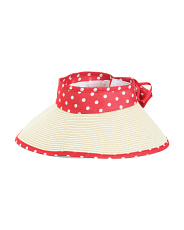 Roll Up Straw Polka Dot Visor