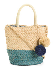 Handmade Color Block Straw Tote