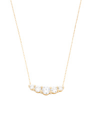 Made In Usa 14k Gold And Cz Graduated Necklace