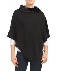 Cashmere Poncho With Faux Fur Collar