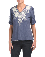 Puff Shoulder Embroidered Top