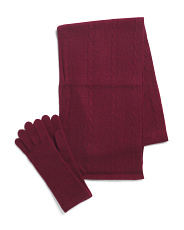 Cashmere Cable Scarf And Solid Gloves Boxed Set
