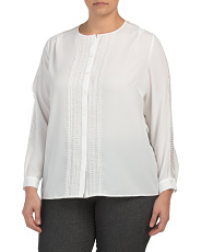 Plus Georgette Long Sleeve Blouse