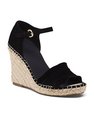 Suede Ruffle Espadrille Wedge Sandals
