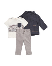 Toddler Boys 3pc Jacket Tee And Pants Set