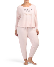 Plus Sleep Is My Therapy Brushed Pj Set