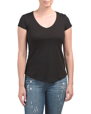 Pima Cotton V-neck Tee With Side Slits
