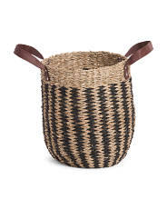 Small Natural Seagrass Round Basket