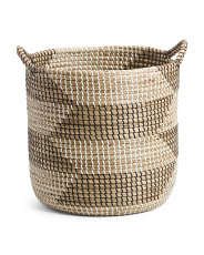 Large Round Zig Zag Hamper With Handles