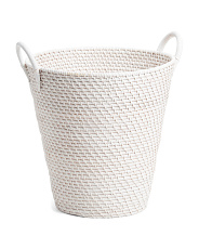 Large Round Rattan Basket With Handles