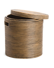 Medium Round Lidded Rattan Coil Hamper