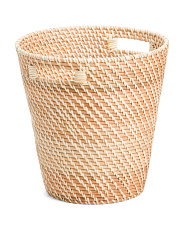 Round Natural Rattan Waste Bin