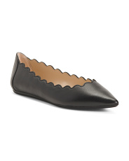 Leather Scalloped Comfort Flats