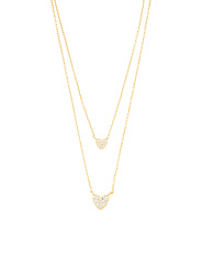 Gold Plated Sterling Silver Two Row Pave Cz Heart Necklace