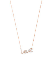 Rose Gold Plated Sterling Silver Pave Cz Love Necklace