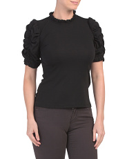 Ruched Sleeve Ruffle Neck T-shirt