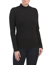 Cashmere Scalloped Mock Neck Sweater