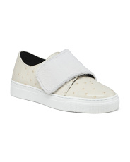 Made In Italy Leather Ostrich Sneakers