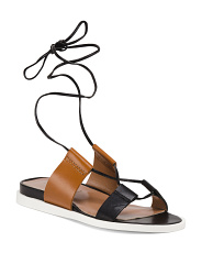Made In Italy Two Band Leather Sandals