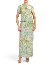 Made In Italy Silk Printed Maxi Dress
