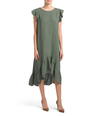 Made In Italy Ruffle Sleeve Hi-low Linen Dress
