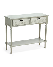 2 Basket Console Table With Usb