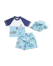 Toddler Boys 3pc Rash Set With Hat