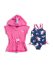 Newborn Girls 2pc Unicorn Swimsuit And Cover-up