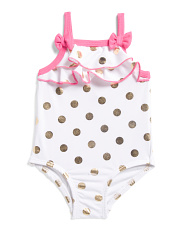 Infant Girls Gold Foil Polka Dot One-piece Swimsuit
